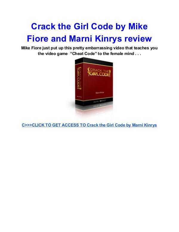 Crack the Girl Code Marni Kinrys review Crack the Girl Code Marni Kinrys PDF download