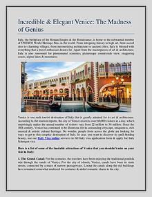 Incredible & Elegant Venice: The Madness of Genius