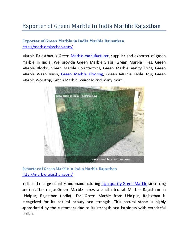 Exporter of Green Marble in India Marble Rajasthan Exporter of Green Marble in India Marble Rajasthan