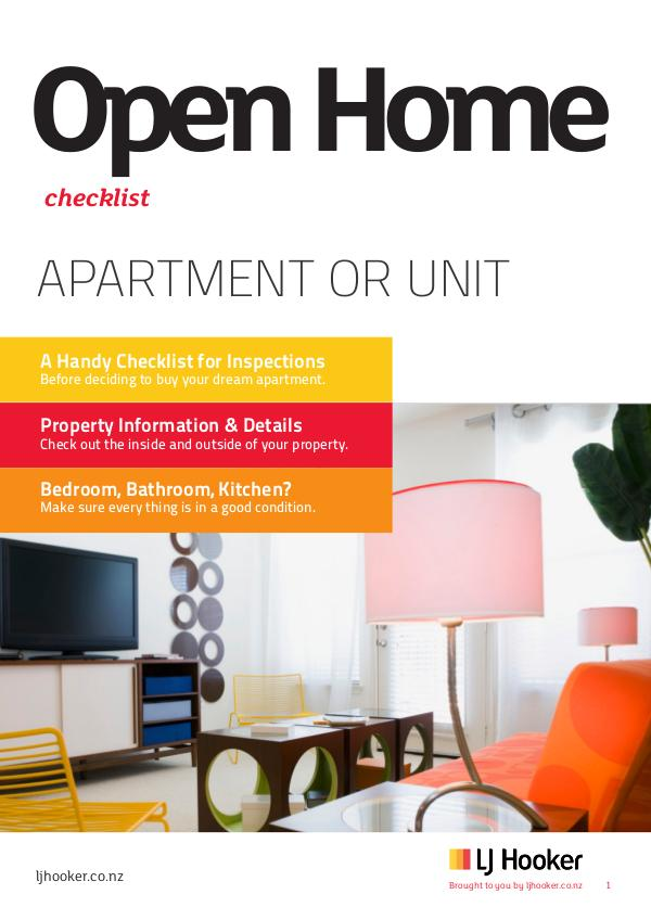 Open Home Checklist: Apartment or Unit