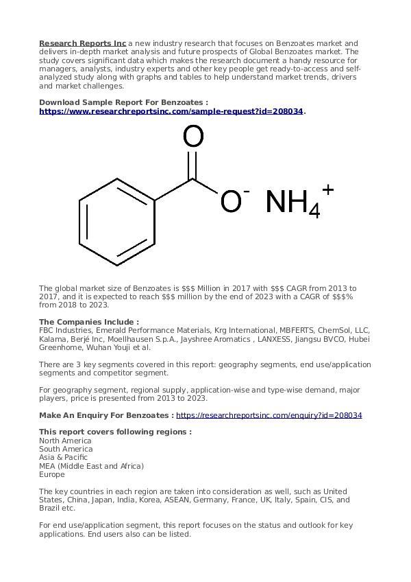 Business Research Reports 2019 Benzoates