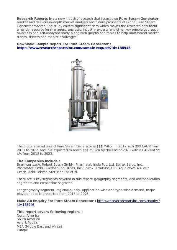 Business Research Reports 2019 Pure Steam Generator