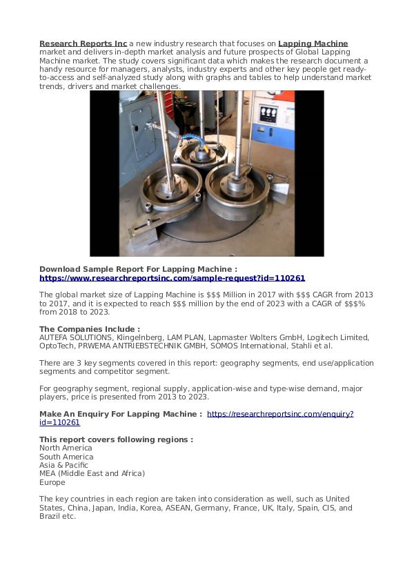 Business Research Reports 2019 Lapping Machine