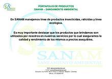PORTAFOLIO PRODUCTOS SANAM