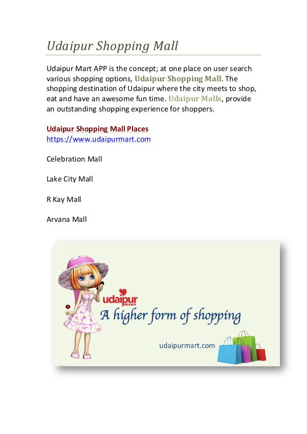 Udaipur business directory Udaipur Shopping Mall