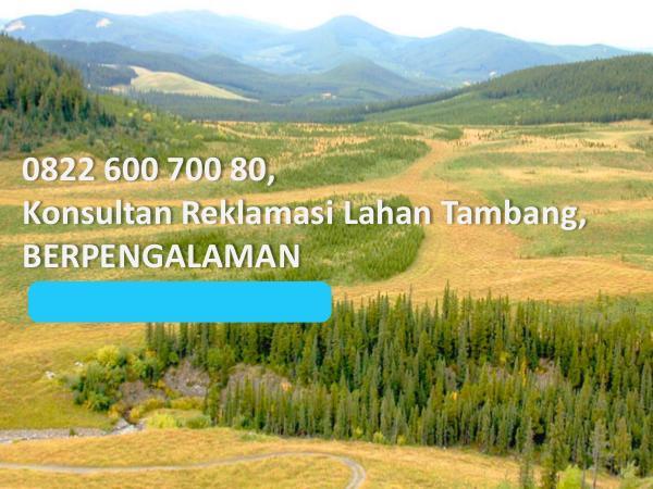 Jasa Reklamasi Lahan Tambang, 0822 600 700 80, TERMURAH 0822 600 700 80, Konsultan Reklamasi Lahan Tambang