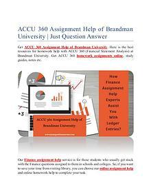 ACCU 360 Assignment Help of Brandman University