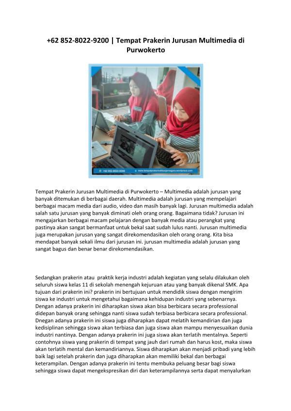 +62 852-8022-9200  Tempat Prakerin Jurusan Multimedia di Purwokerto 62 852-8022-9200  Tempat Prakerin Jurusan Multime