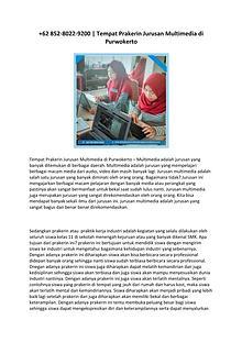 +62 852-8022-9200  Tempat Prakerin Jurusan Multimedia di Purwokerto