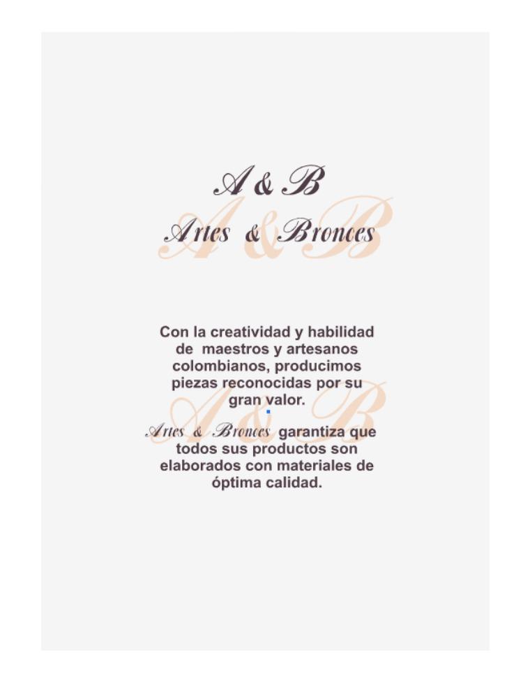 Catálogo Liliana Méndez, línea exclusiva. Catálogo Artes & Bronces: Obras clásicas