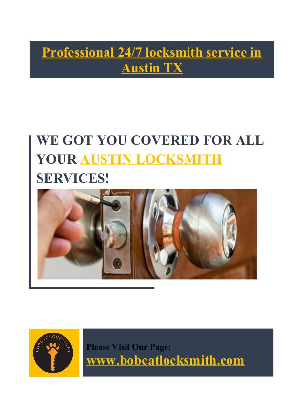 Professional 24/7 locksmith service in Austin TX - Bobcat Locksmith Bobcat Locksmith All Services
