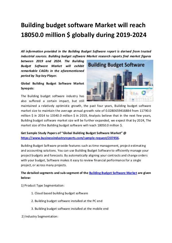 Digital Marketing Building budget software Market 2019-2024