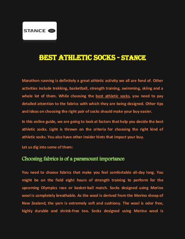 Stance Socks Best Athletic Socks