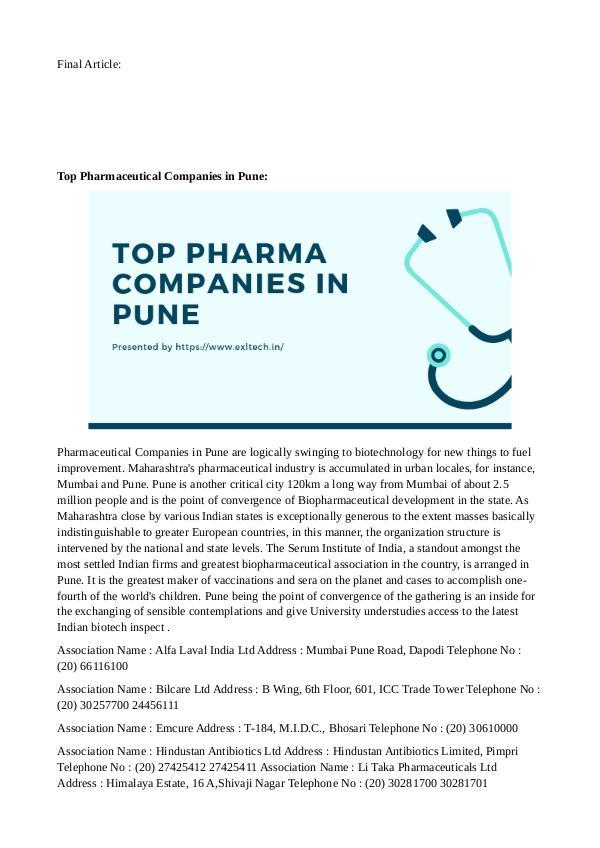 Top Pharma Companies in Pune Top pharma companies in Pune