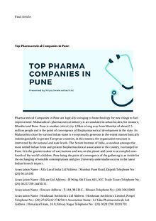 Top Pharma Companies in Pune