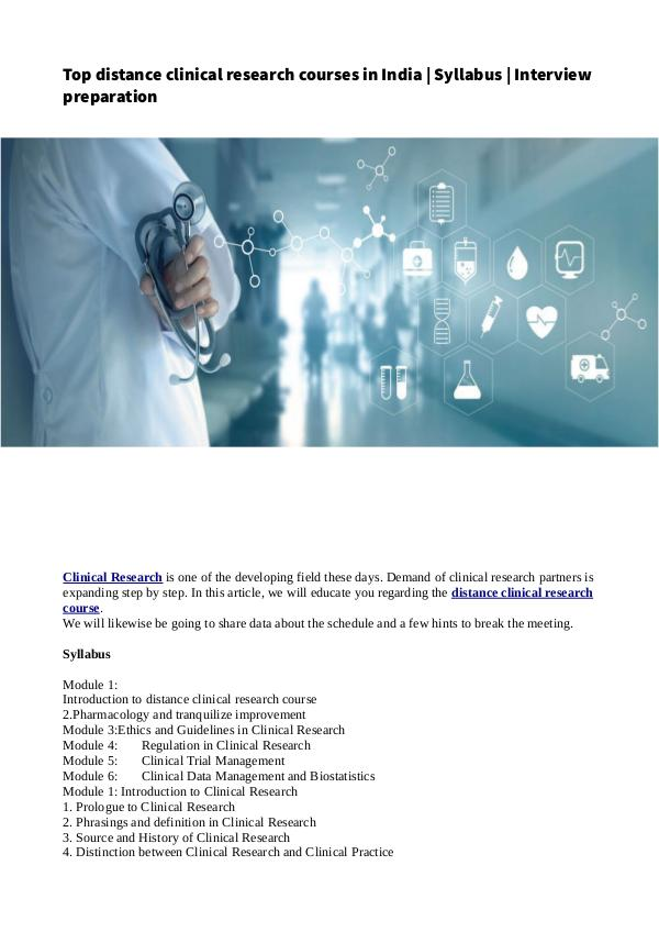 Top distance clinical research courses in India | Syllabus | Intervie Top distance clinical research courses in India _
