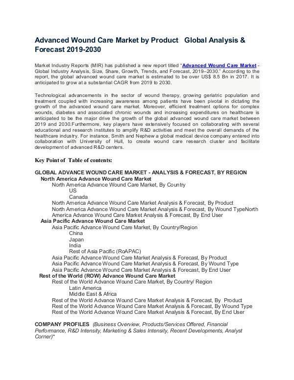 Advanced Wound Care Market : Key companies Profile , Market Share by Advanced Wound Care Market-converted