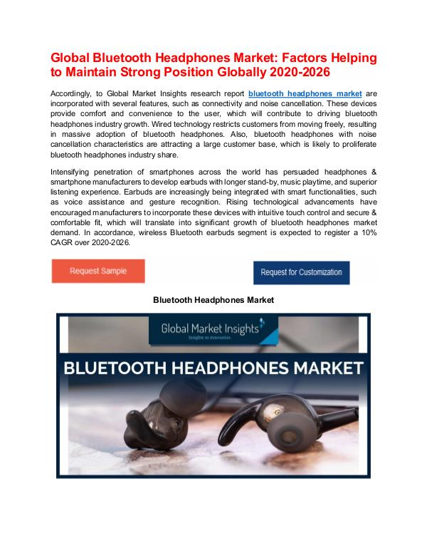 Global Bluetooth Headphones Market: High-growth Regions to Expand Geo Bluetooth Headphones Market - PDF