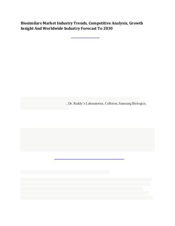 Biosimilars Market, Competitive Analysis