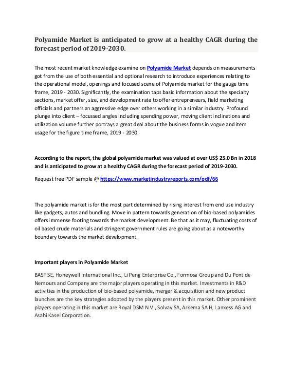 Polyamide Market Analysis And Forecast 2019-2030.