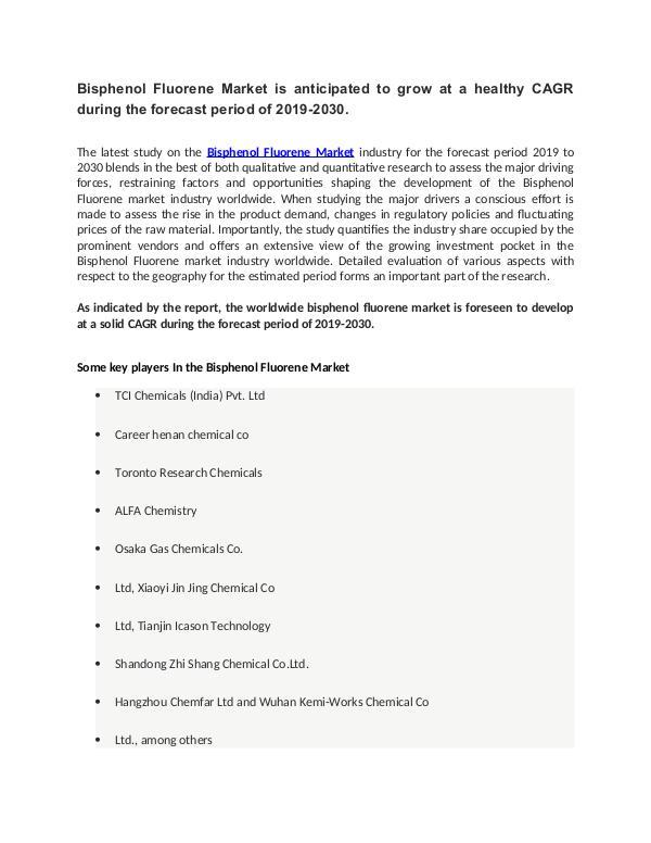 MIR Bisphenol Fluorene Market Global Analysis