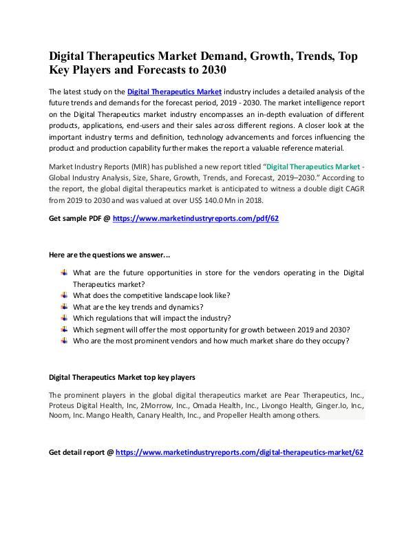 Digital Therapeutics Market Forecast And Analysis
