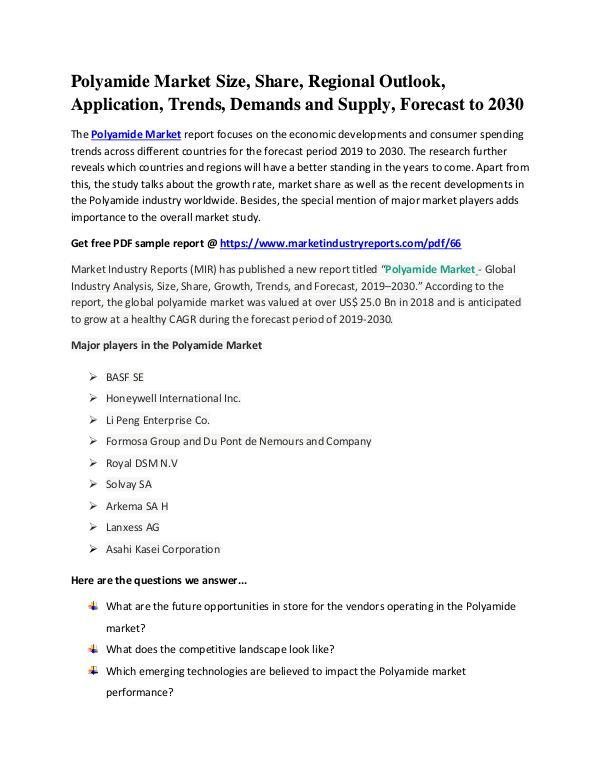 Polyamide Market In-Depth Study