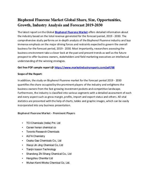 Bisphenol Fluorene Market Global Study