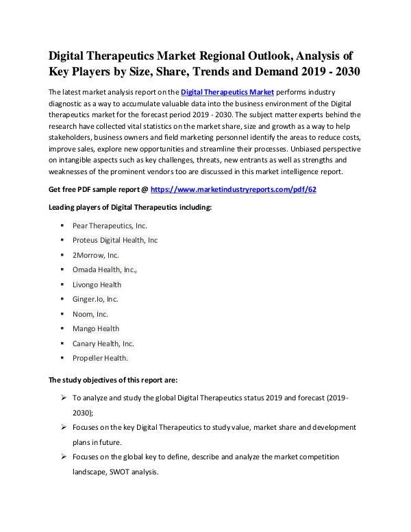 Digital Therapeutics Market Overall Study