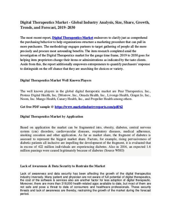 Digital Therapeutics Market - Global Study