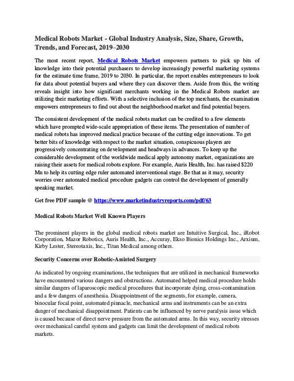 MIR Medical Robots Market - Global Study