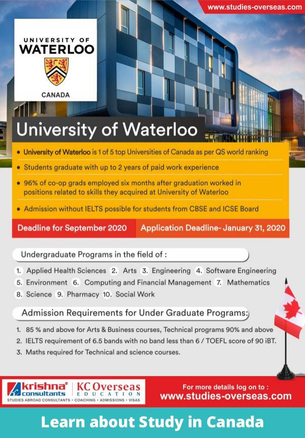 List of Undergraduate Programs to Study in Canada University of Waterloo