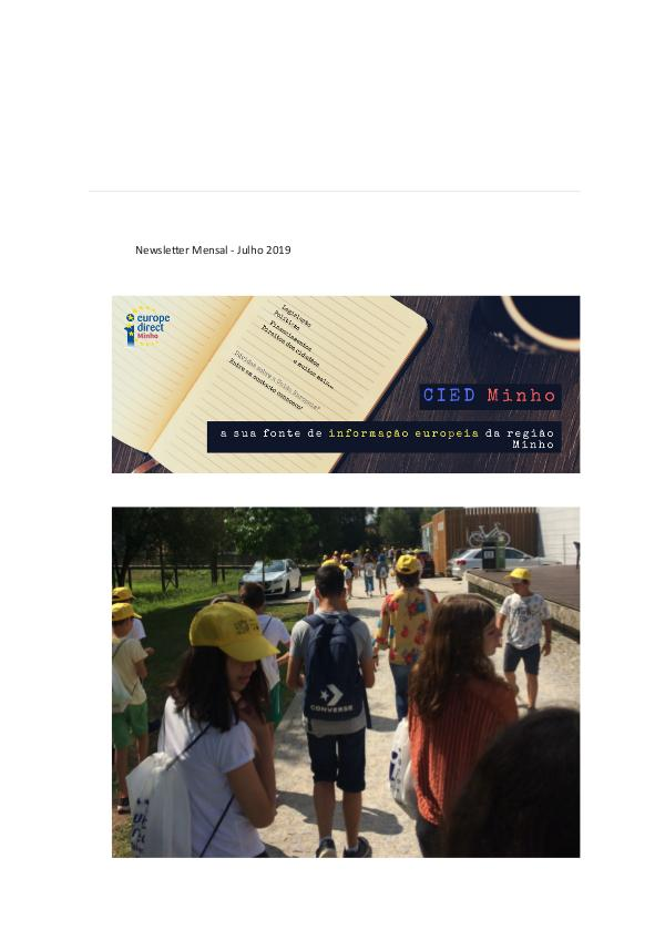 Newsletter mensal Julho 2019 Newsletter Mensal - Julho 2019