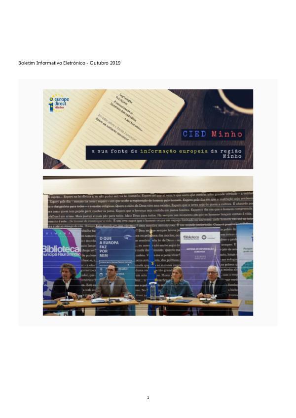 Newsletter Outubro 2019 Boletim Informativo Eletrónico - Outubro 2019 - Final
