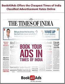 BookAllAds Offers the Cheapest TimesofIndia Classified Advertisement
