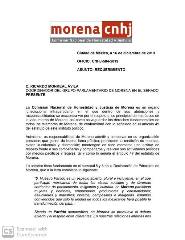 Sanciona Morena a Ricardo Monreal
