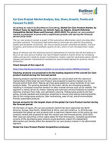 Car Care Products market Size, Demand, Cost Structures, Latest trends