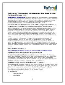 India Electric Three-Wheeler Market Analysis, Size, Share,Growth 2025