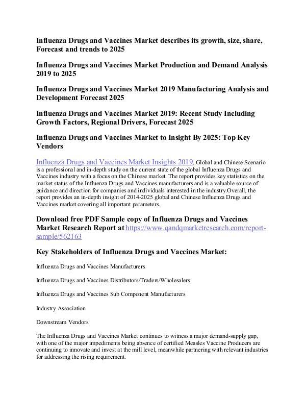 Influenza Vaccine Influenza Drugs and Vaccines