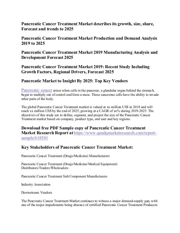 Pancreatic Cancer Treatment Pancreatic Cancer Treatment Market