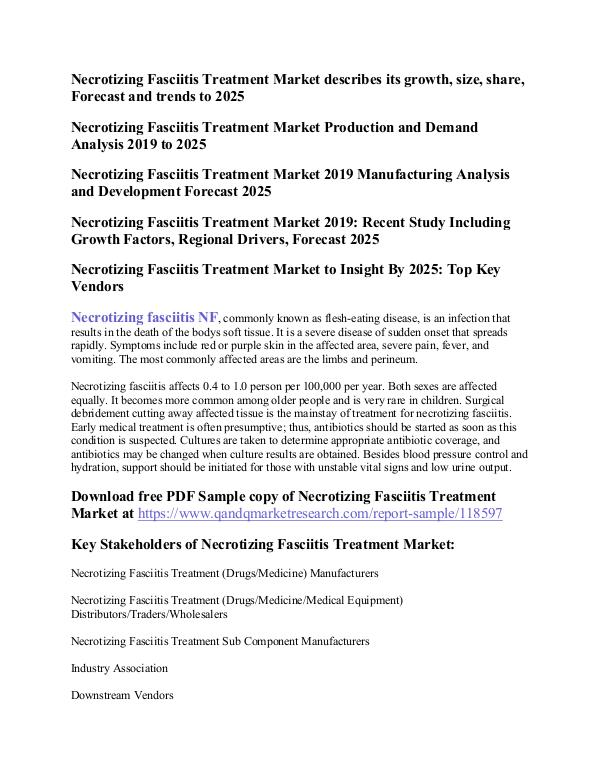 Necrotizing Fasciitis Treatment Necrotizing Fasciitis Treatment Market