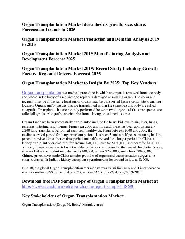 Organ Transplantation Organ Transplantation Market