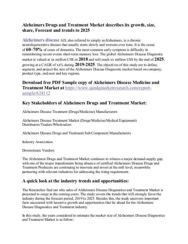 Alzheimer Disease Diagnostics and Treatment Alzheimers Drugs and Treatment Market