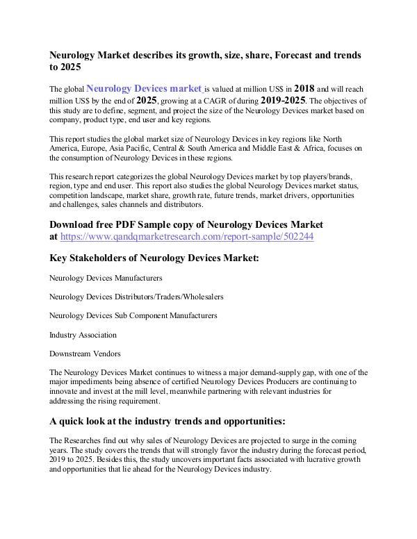 Neurology Devices Market Neurology Market