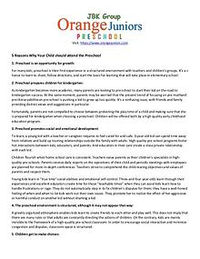 5 Reasons Why Your Child should attend the Preschool