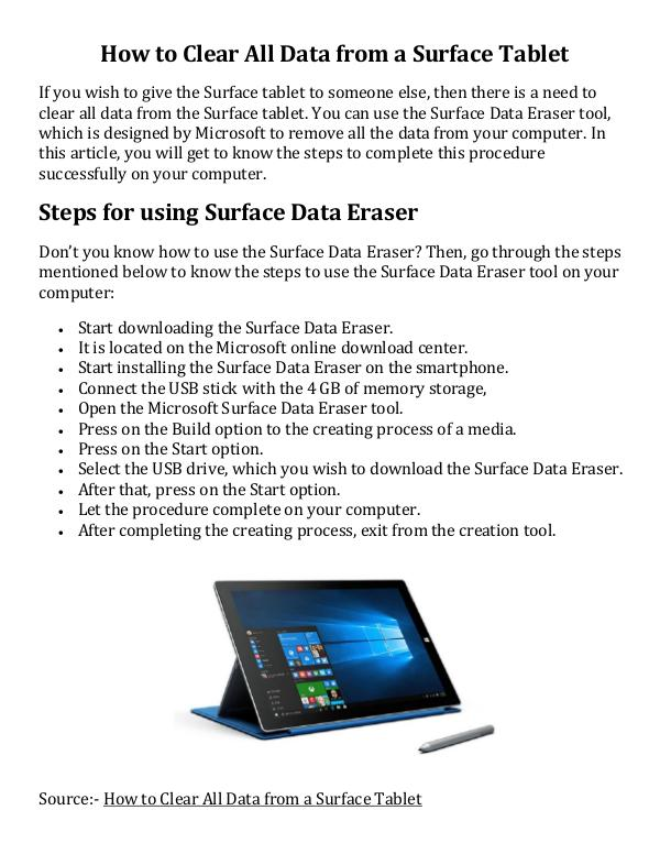 How to Clear All Data from a Surface Tablet