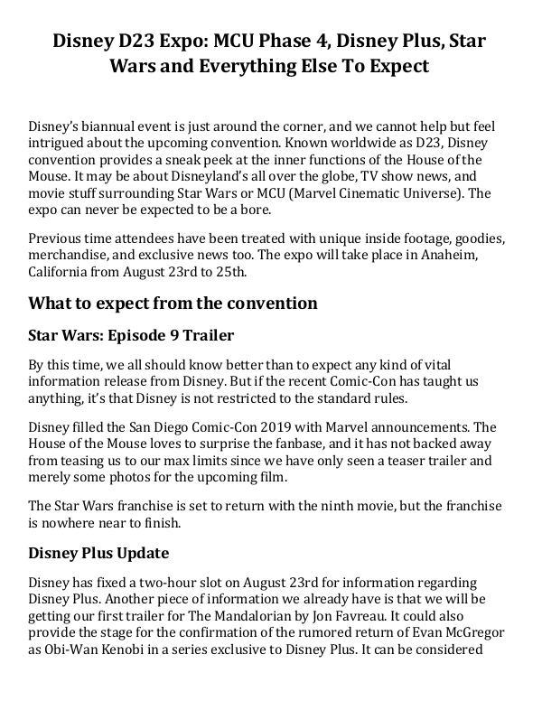 Disney D23 Expo MCU Phase 4, Disney Plus, Star War