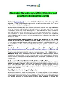 Glycinates Market Insights With Statistics and Growth Prediction 2019