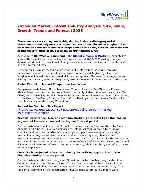 Zirconium Market - Global Industry Analysis, Size, Share &Trends 2025 Zirconium Market