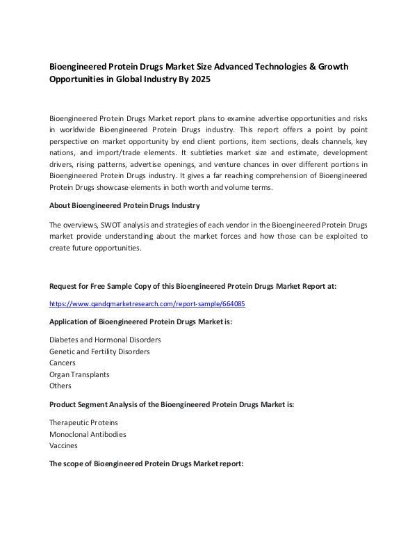 Bioengineered Protein Drugs Market Size,growth 2025 pharma report